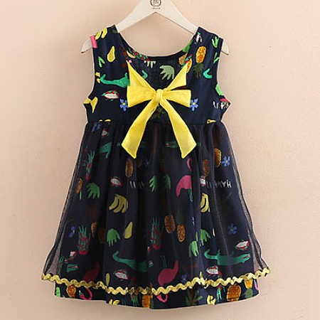 Animal Print  Bowknot  Decorated Tulle Dress