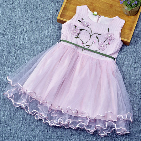 Flower Applique  Beads Tulle Dress