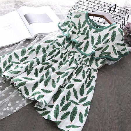 Leaf Print Self Tie  Ruffle Dress