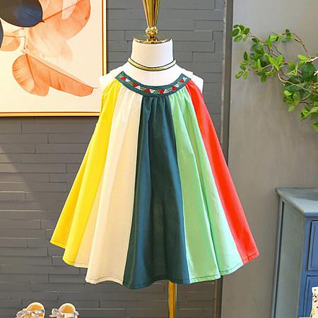Colorful Stripe Button Back Dress