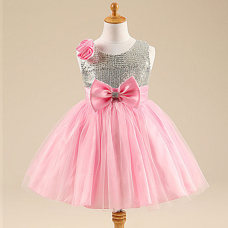 Sequin  Flower Bowknot Decorated Tulle Dress