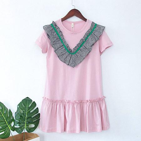 Plaid Short Sleeve Ruffle Hem Pink Dress