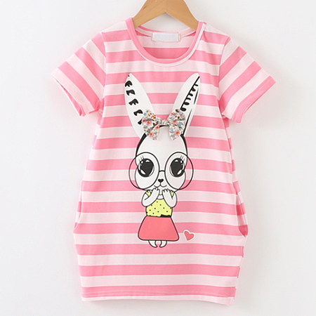 Bowknot Stripe Short Sleeve Bunny Pattern Dress