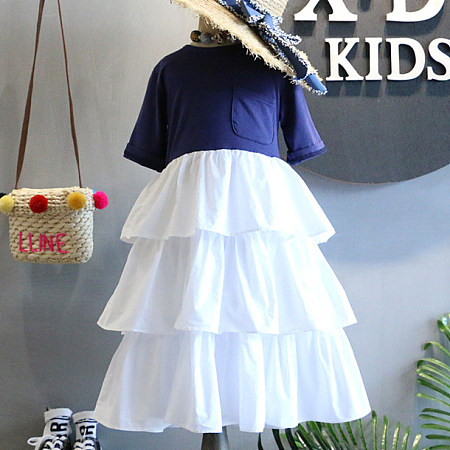 Short Sleeve Round Neck Tiered  Dress