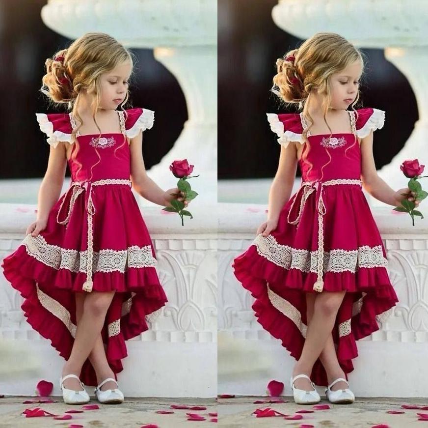 Fly Sleeve Lace Ruffle Hem Dress