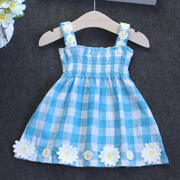 Plaid Flower Applique Cami Dress