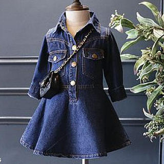 Turn-Down Collar Long Sleeve Denim Dress Without Crossbody Bag