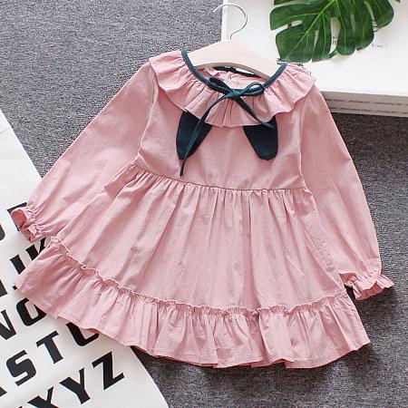 Ruffle Hem Long Sleeve Solid Color Button Back Dress
