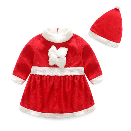 Christmas Long Sleeve Red Dress With Hat, red, DR18072409
