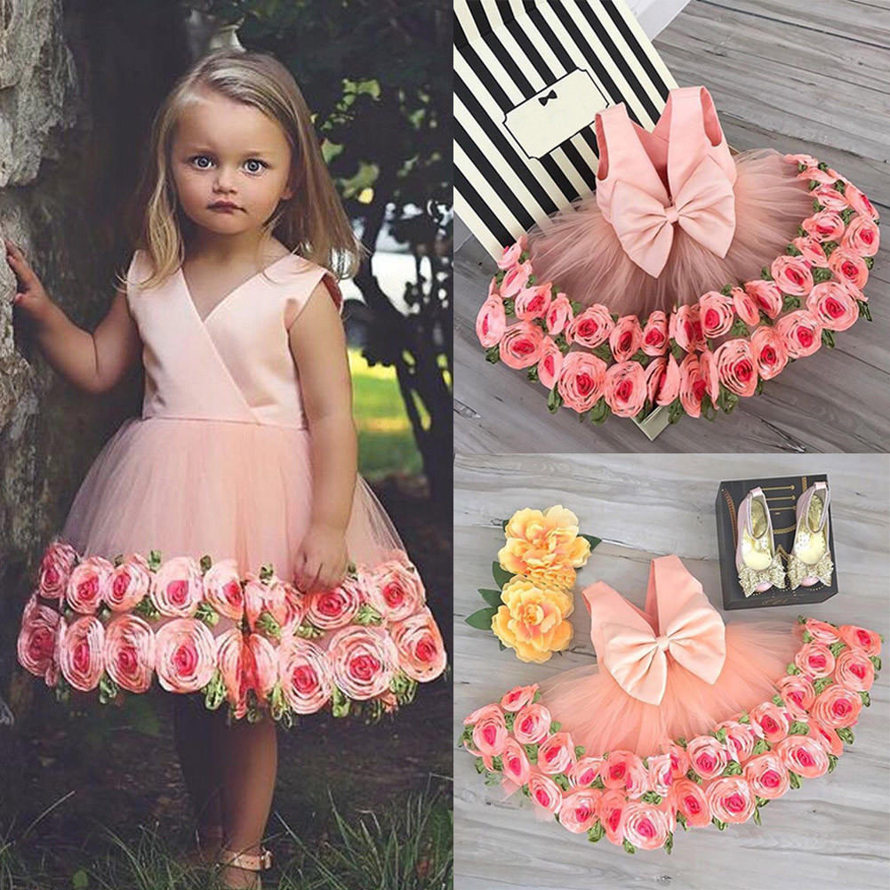 Rose Decorated Bowknot Tulle Princess Dress