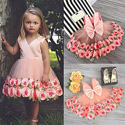 rose-decorated-bowknot-tulle-princess-dress