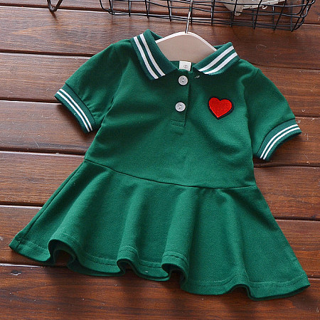 Heart Pattern Short Sleeve Solid Color Turn-Down Collar Pleated Dress