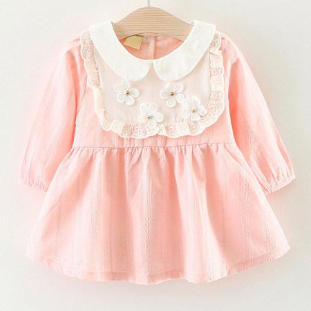 Flower Applique Doll Collar Long Sleeve Self Tie Back Pink Dress