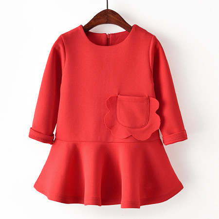 Pocket Long Sleeve Zipper Back Solid Red Pleated Dress