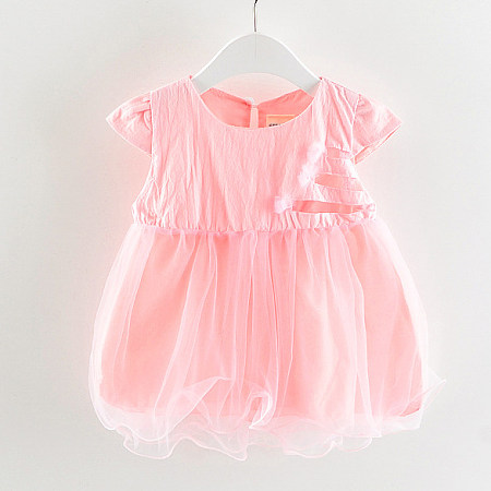 Tulle Solid Color Keyhole Back Dress