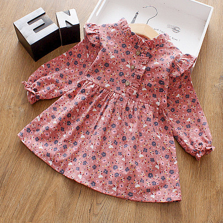 Allover Flower Print Long Sleeve Ruffle Trim Dress