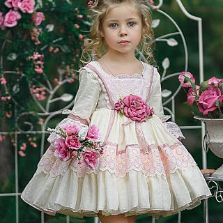 Flower Lace Long Sleeve Tiered Princess  Dress