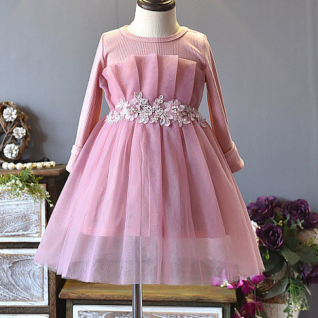 Flower Applique Solid Color Self Tie Tulle Dress