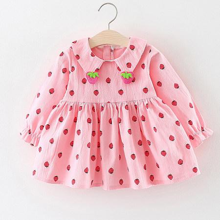 Allover Strawberry  Print Zipper Back Dress