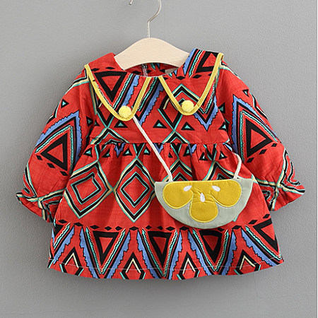 Buy Tribal Print Long Sleeve Dress, red, DR18080115 for $15.69 in Popreal store
