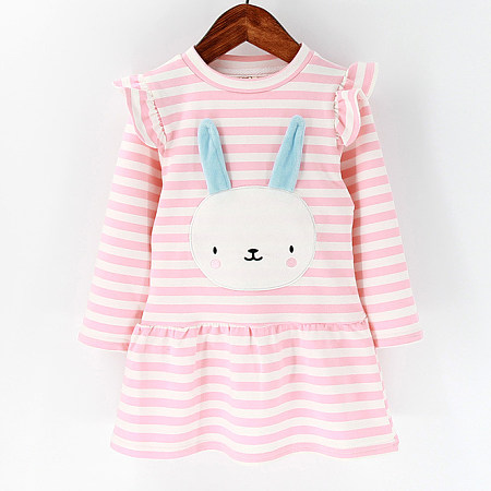 Bunny Pattern Long Sleeve Stripe Ruffle Trim Dress
