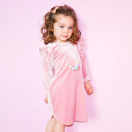 Velvet  Ruffle Trim Solid Pink Dress