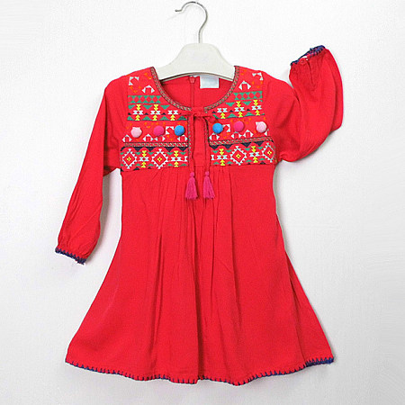 Tribal Print Tassel Self Tie Red Dress