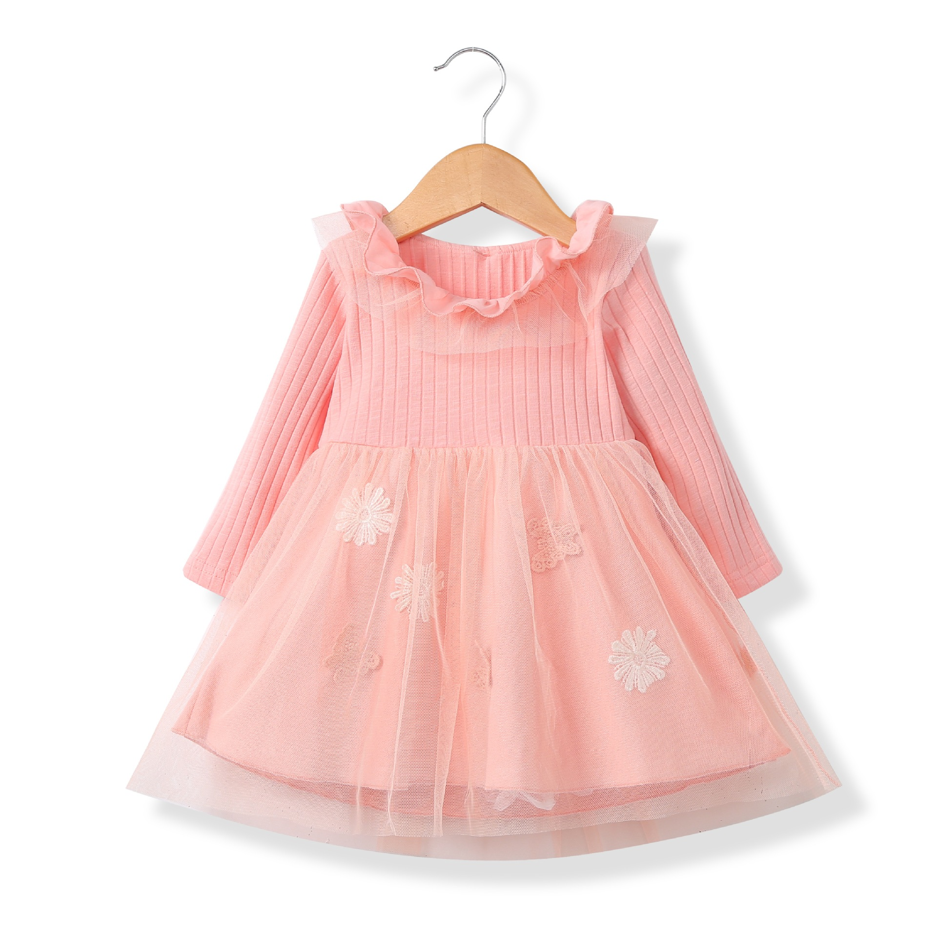 Ruffle Trim Flower Applique Tulle Dress