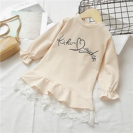 Letter Pattern Round Neck Lace Dress