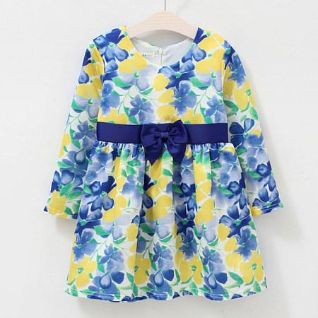 Allover Flower Print Bowknot Dress