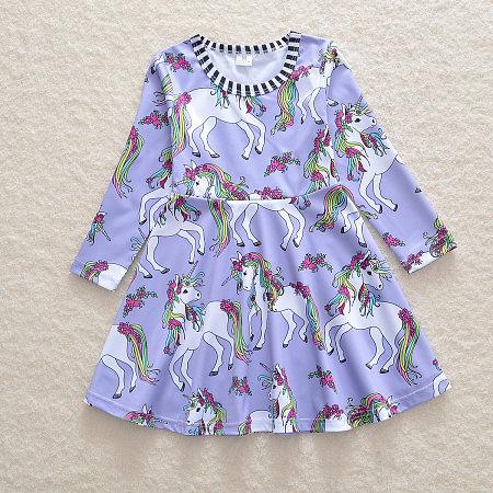 Allover  Unicorn Print Stripe Round Neck Dress