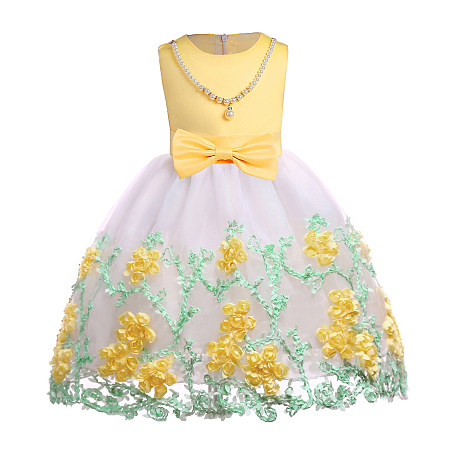 Stereoscopic Flower Applique  Bowknot Decorated Beads  Zipper Back Princess Dress