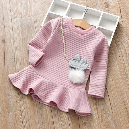 Falbala Solid Color Round Neck Stripe Dress