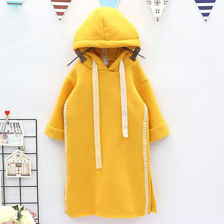 Hooded Solid Color Heart Drawstring Dress