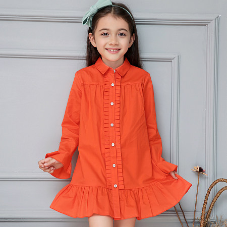 Ruffle Trim Solid Color Shirt Dress