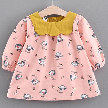 Allover Piggy Print Zipper Back  Dress