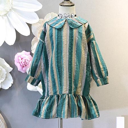 Block Stripe Falbala Button Back Dress