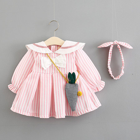 Vertical Stripe Bowknot Decorated Flare Dress With Crossbody Bag And Headband