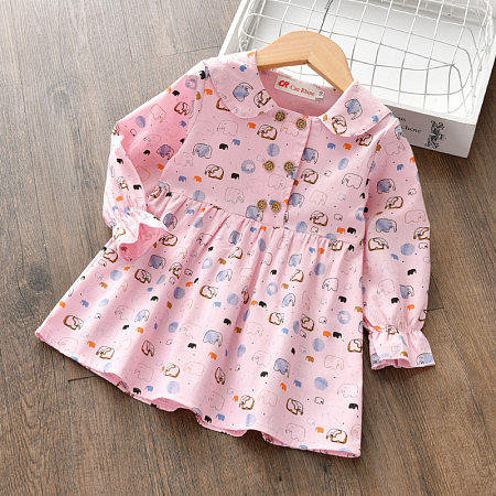 Elephant Print Doll Collar Button Front Dress