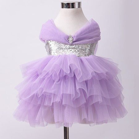 Bowknot Decorated Tulle Sequin Tiered Princess Dress