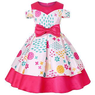 Cold Shoulder Bowknot Decorated  Mixed Print Princess Dress