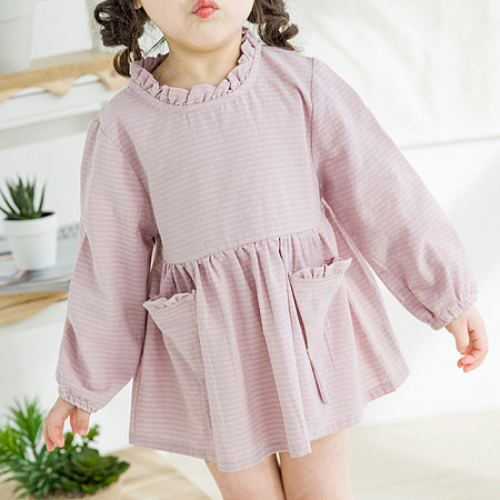 Ruffle Trim Ice Cream Pocket Solid Pink Dress