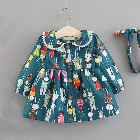 Allover Cartoon Print Button Front Dress