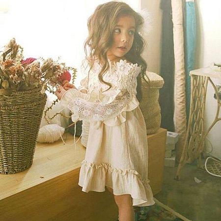 Flower Applique Solid Color Ruffle Hem Dress