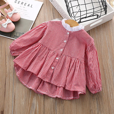 Plaid Ruffle Trim Button Front Dress