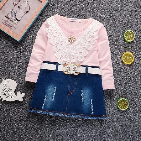 Beads Lace Applique Denim Dress