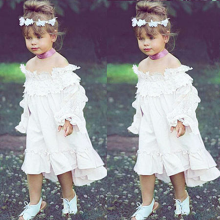 Flower Applique Off-Shoulder Ruffle Hem White Dress
