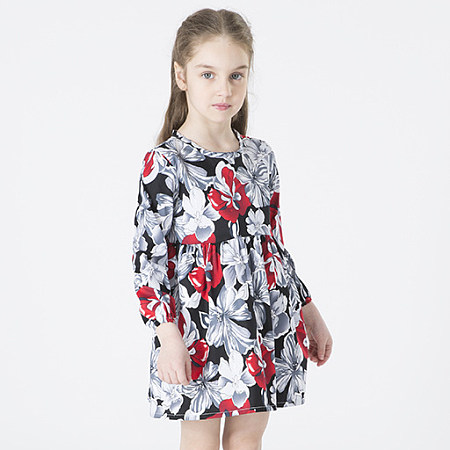 Allover Floral Print Round Neck Dress