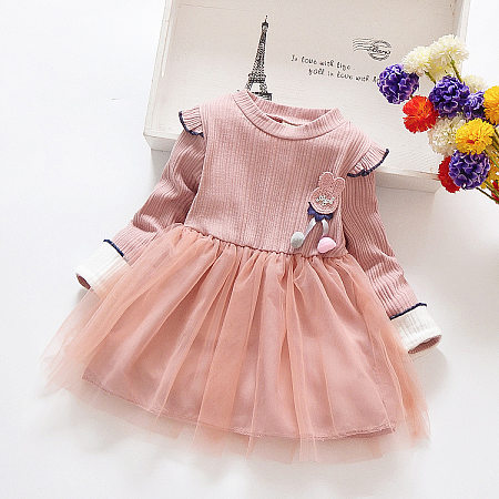 Applique Round Neck Tulle Solid Color Dress