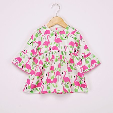 Allover  Flamingom Print Round Neck Dress